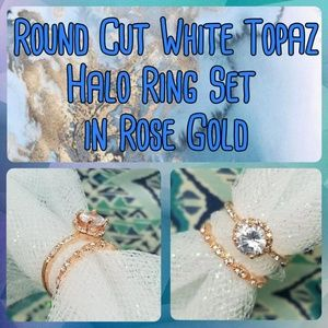 Jewelry - NIB White Topaz Halo Rings in Rose Gold